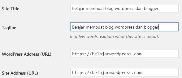 Cara setting tagline dan deskripsi wordpress