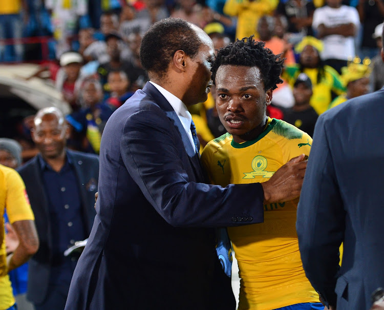 Mamelodi Sundowns' president and owner Patrice Motsepe with star forward Percy Tau