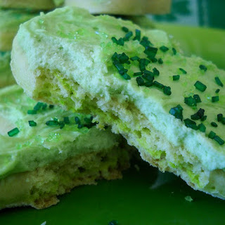 Shamrock Sugar Cookies with Whiskey and Baileys Frosting.