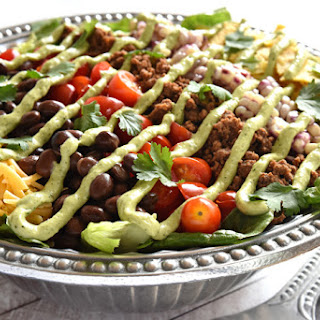 Ultimate Taco Salad with Avocado Ranch Dressing.