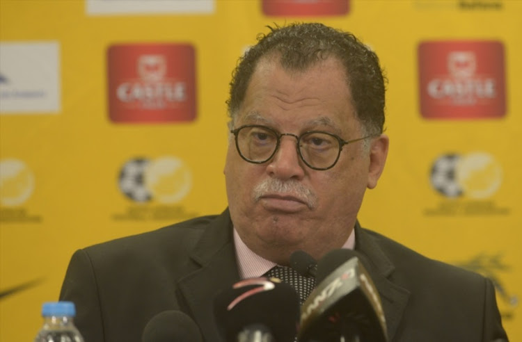 SAFA President Danny Jordaan during the Decision on South Africa v Senegal Game Press Conference held at Southern Sun, OR Tambo International Airport on September 12, 2017 in Johannesburg.