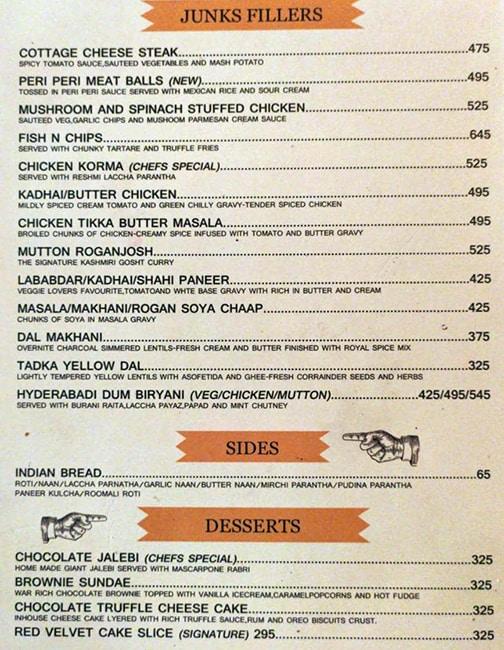 The Junkyard Cafe menu 6