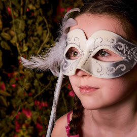The Venezia Girl at Jungle by Jiri Cetkovsky - Babies & Children Child Portraits ( face, jungle, girl, portrait, mask )
