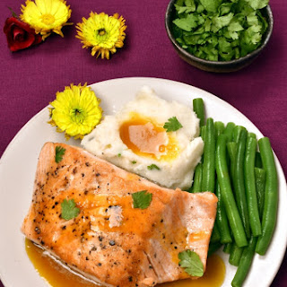 Pan-Seared Salmon with Passionfruit Sauce.