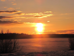 Photo: Sunset at Watson Lake which was still frozen