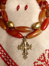 Photo: # 225  2-piece brass Hutsul cross pendant, carnelian, agate, brass beads, gold plate $225  SOLD