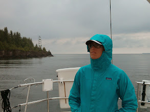Photo: Anne at the helm off the off Clapperton Island