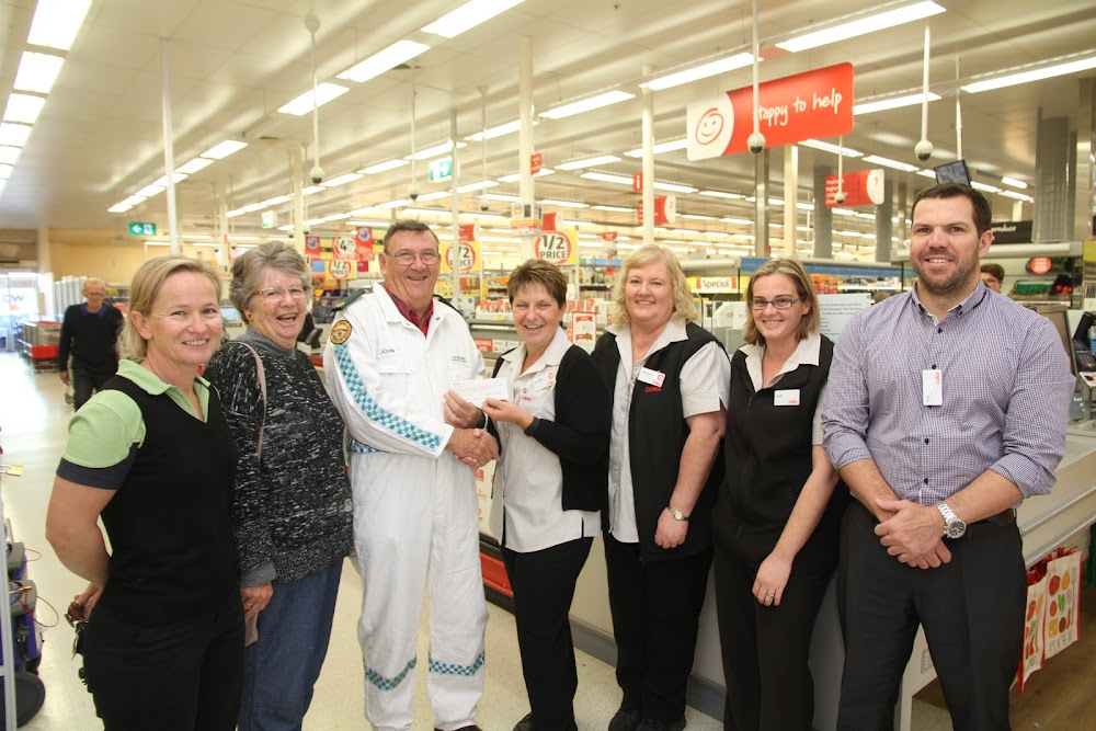 """Narrabri VRA president Sarah Bennett, auxiliary member Pat Hardgrave and captain John Hardgrave accepting a cheque from Coles 'head fundraiser' Leonie Brown, and Coles' Rebecca Davis, Melissa Noble and manager Tye Morgan at the Narrabri store yesterday. Mr Hardgrave said it was """"one of our biggest cash donations for a long time"""". The  $2000 contribution from Coles was organised by Coles Narrabri's voluntary head fundraiser Mrs Brown and her willing team, generously supported by Coles customers. """"The $2000 was raised through our Easter egg raffle,"""" said Mrs Brown. Mr Hardgrave said the funds would be used to replace the VRA's airbags used to lift heavy loads in emergencies.  Coles staff and customers are ongoing fundraisers for local charities, recently raising $1000 for the Narrabri Hospital CT scanner,  $300 for the RSL and funds for the Cancer Council's Red Kite appeal. The next project is a fund raiser for Wee Waa hospital."""