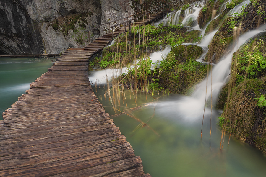 Plitvice lakes by Ivan Prebeg - Buildings & Architecture Bridges & Suspended Structures ( water, europe, unesco world heritage site, blurred motion, tourism, lake, forest, travel, scenic, landscape, spring, travel destination, national park, european, nature, season, tree, horizontal, long exposure, plitvice lakes national park, river )
