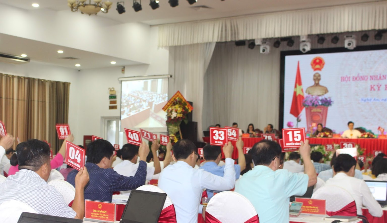 Các đại biểu biểu quyết thông qua Nghị quyết