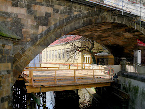 Photo: Charles Bridge Under Repair-- A platform for workers during an extensive restoration and repair project that has since been completed.