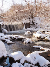 Photo: Beautiful pink sunlight over a snowy waterfall at Eastwood Park in Dayton, Ohio.
