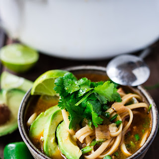 Mexican Chicken ( or chickpea ) Noodle soup