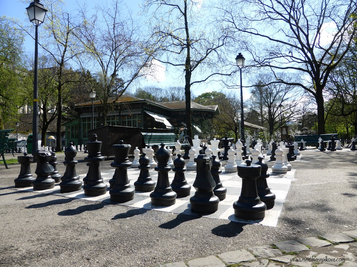 A giant chess board at Parc des Bastions, Geneva, Switzerland