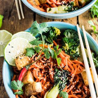 Sesame Ginger Carrot Noodle Stir Fry with Bok Choy and Crispy Tofu Recipe