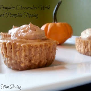 Mini Pumpkin Cheesecakes With Pumpkin Whipped Topping.