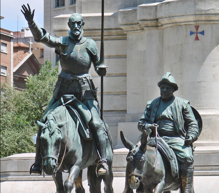 Don Quixote and Sancho Panza in the Plaza de España. Photo: Jean-Pierre Dalbéra.