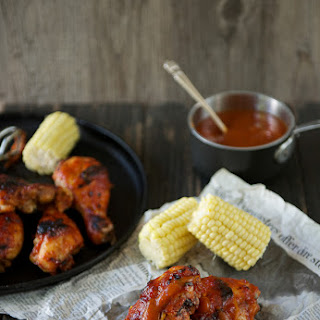 Chicken with Pineapple-Mango-Chipotle Barbecue Sauce.