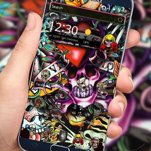 Rock Skull Graffiti Theme Lock Screen Call Apps On
