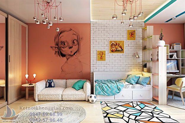 thiết kế nội phòng ngủ bé trai