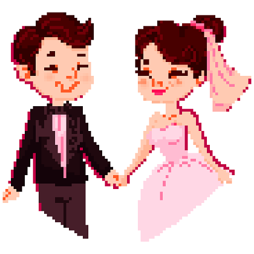 Bride & Groom Color by Number - Pixel Art Coloring Icon