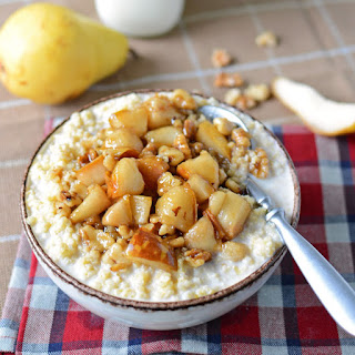 Pears with Brown Sugar Bourbon and Millet Recipe