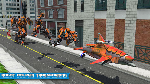 Futuristic Robot Dolphin City Battle - Robot Game apkpoly screenshots 2