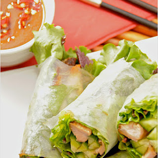 Goi Cuon (Vietnamese Fresh Spring Rolls) with Hoisin Peanut Dipping Sauce.