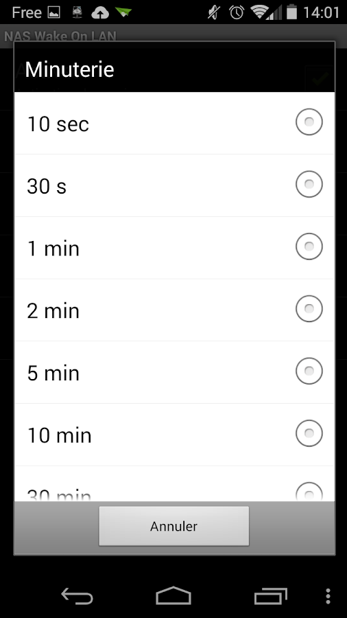 NAS Wake On LAN - screenshot