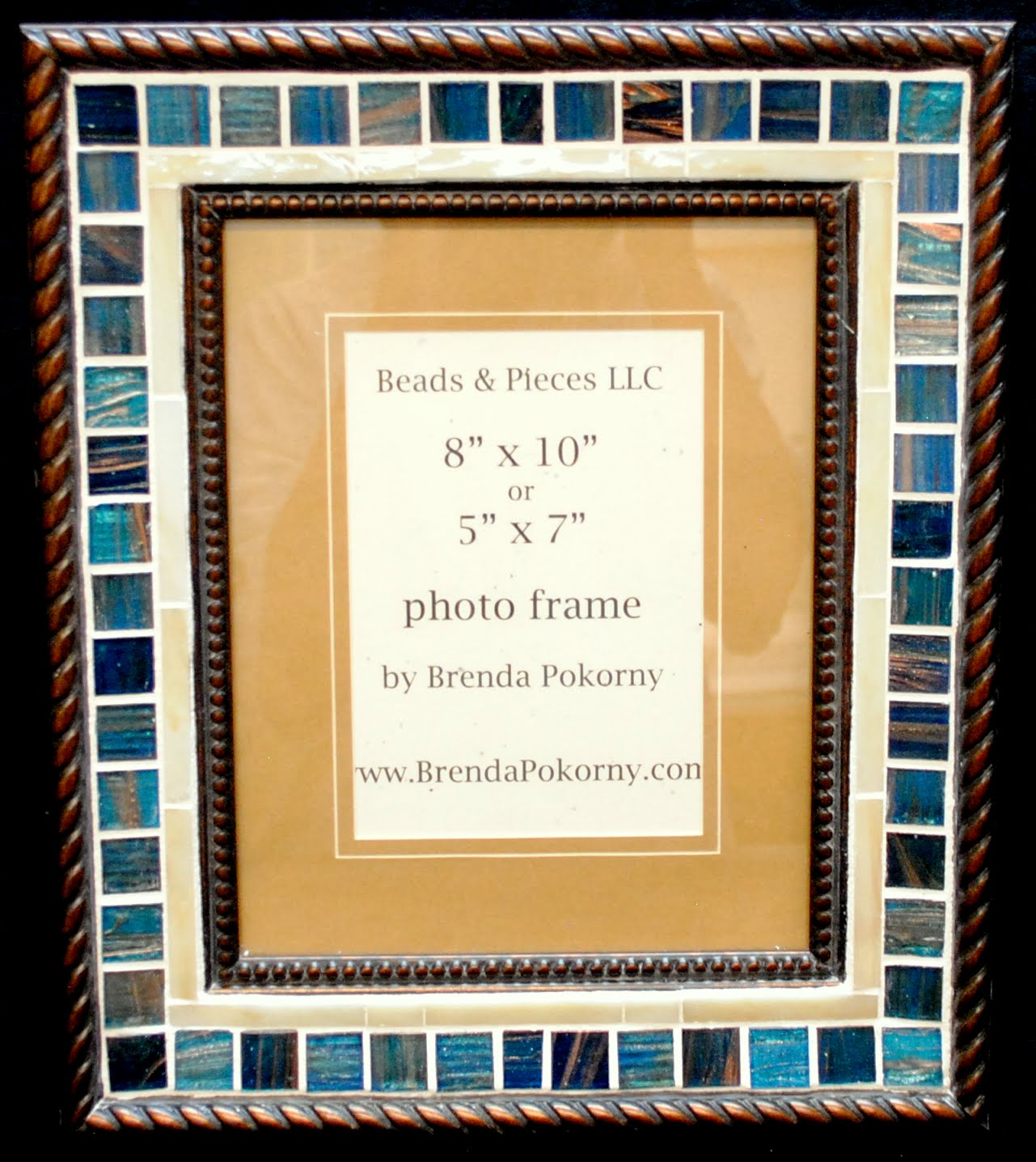 "Deep Teal & Cream 5"" x 7"" or 8"" x 10"" Mosaic Photo Wall Frame MOF1455"