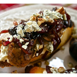 Grilled Italian Sausage, Balsamic Roasted Red Grape & Blue Cheese Crostini with Pecans Recipe