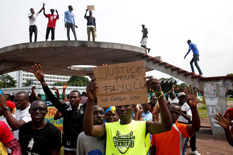 Supporters of Martin Fayulu, runner-up in Democratic Republic of Congo's presidential election, protest in front of the constitutional court in Kinshasa, Democratic Republic of Congo, on January 12 2019. Picture: REUTERS/BAZ RATNER/FILE PHOTO