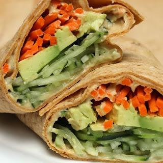 Spiralized Veggie Hummus Wrap