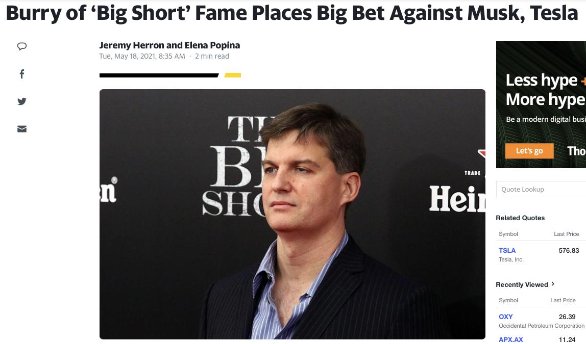 Michael Burry Short Tesla Stock News Article