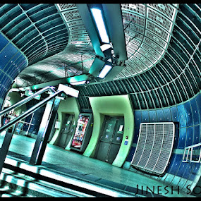 underworld.. by Jinesh Solanki - Buildings & Architecture Other Interior ( cool, sky, london, hdr, blue, tube, green, underground, high dynamic range )