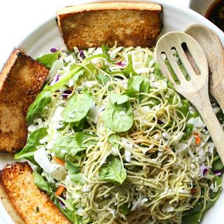 Marinated Tofu + Edamame Spaghetti Salad