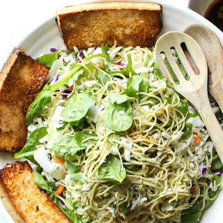 Marinated Tofu + Edamame Spaghetti Salad.