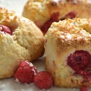 Raspberry and Coconut Scones.