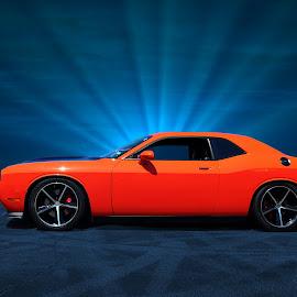 One Last Challenge by JEFFREY LORBER - Transportation Automobiles ( orange, orange car, rust 'n chrome, dodge, challenger, lorberphoto )