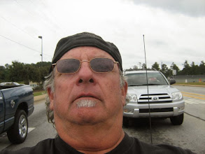 Photo: Took this picture of myself at 90 mph. NOT. I shoulda shaved this morning.
