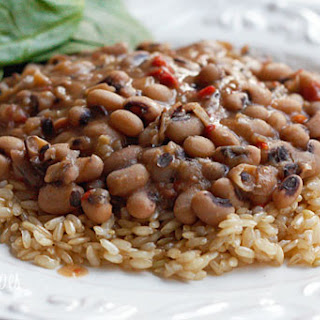 Slow Cooked Black Eyed Peas with Ham.
