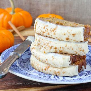 Healthier Pumpkin Banana Bread with Maple Caramel Icing.
