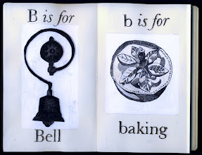Photo: Philippa Robbins - folding book primer - B is for Bell; b is for baking