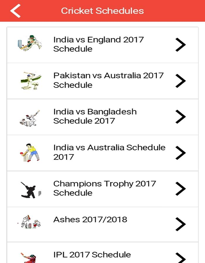 Cricket Schedule Live Scores All Cricket News 2017- screenshot