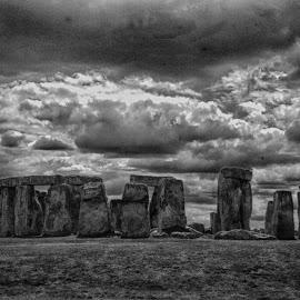 Stonehenge by Pravine Chester - Black & White Landscapes ( stonehenge, monochrome, black and white, digital photography, landscape, photography )