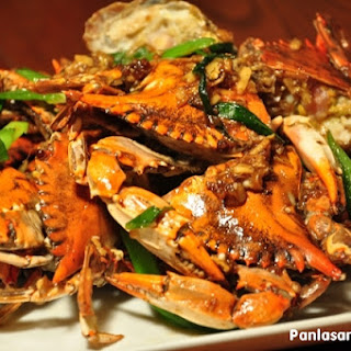 Stir Fried Crabs with Ginger and Scallions.