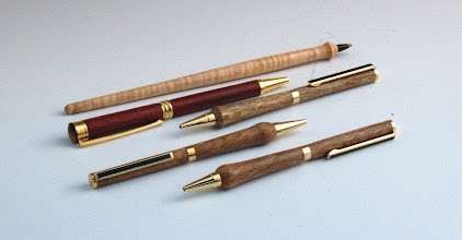 Photo: Bob Browning - 5 pens - White Oak (3), Purple Heart (1), Maple (1)