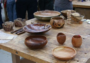 Photo: The Show & Tell table may be round and brown, but there are some very attractive pieces here which show the wood well.