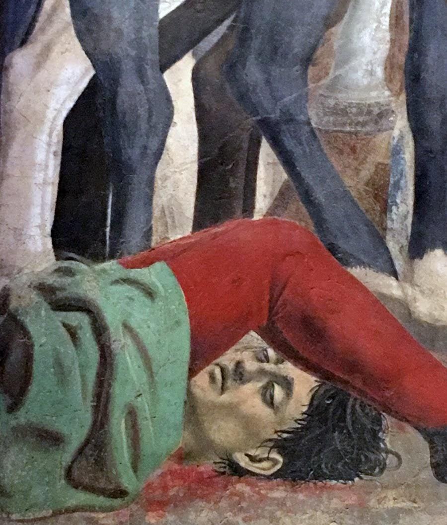 Piero della Francesca,Battaglia di Eraclio e Cosroè, affresco dettaglio con possibile autoritratto di Piero), Basilica di San Francesco, Arezzo
