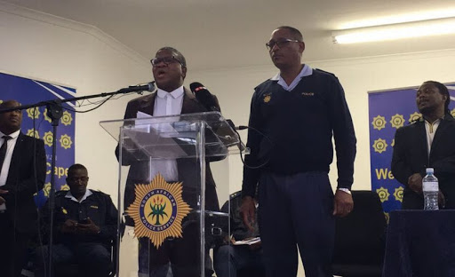 Fikile Mbalula presented Colonel Bongani Mtakati to the crowd in Philippi East after the recent murders in Marikana saying